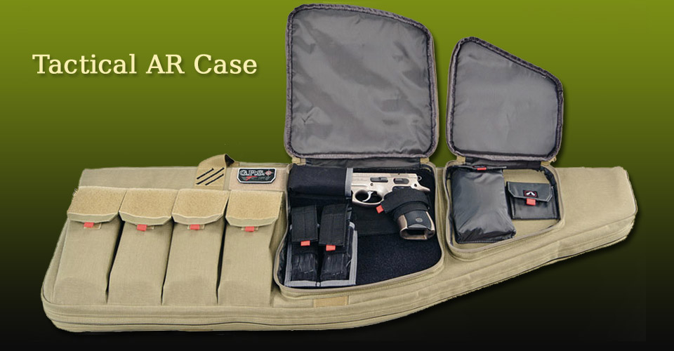 Tactical AR Carrying Case for AR Rifle, Magazines, Handgun and Accessories